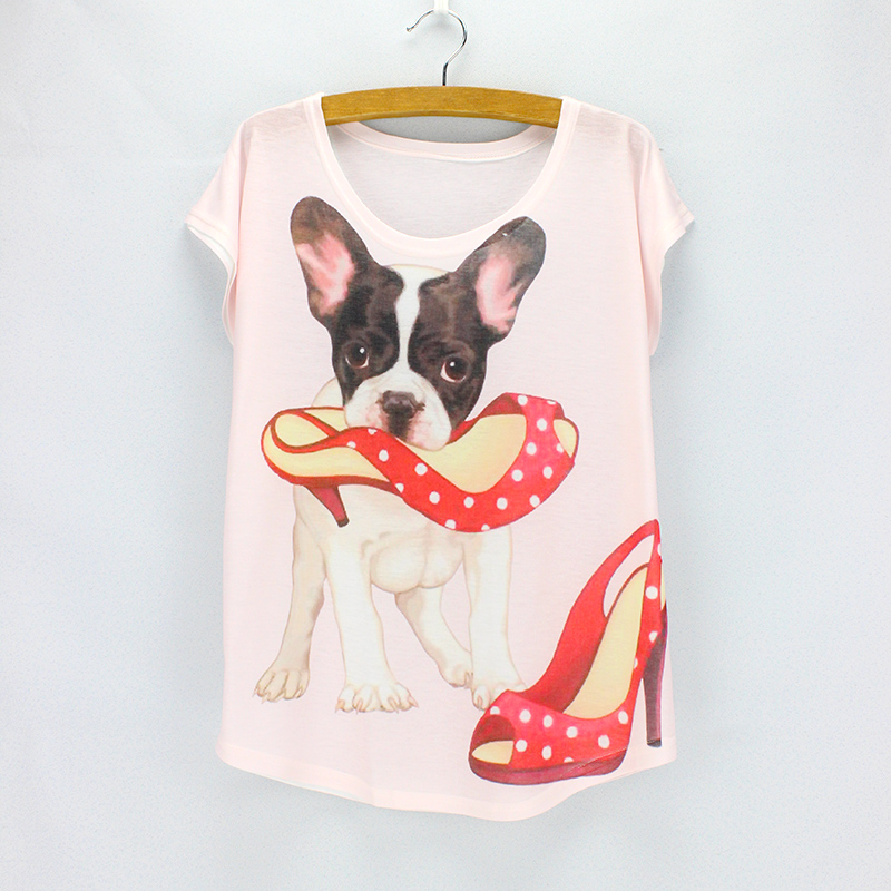 Discount sale Cute dog print t-shirts for women 2016 fashion summer tees girls top tees short sleeve O-neck tops wholesale(China)