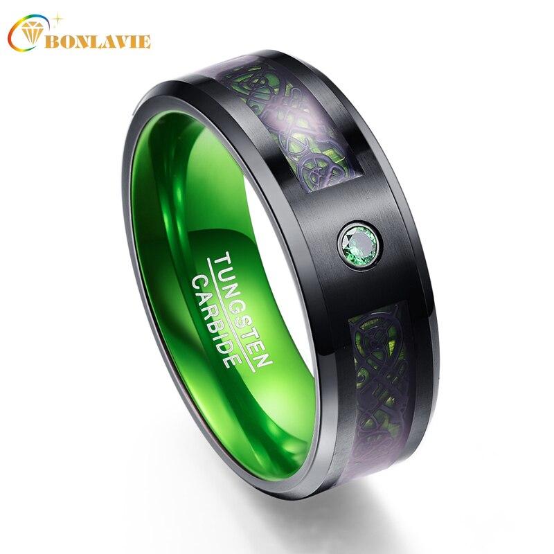 цена на Carbon Fiber Green Zircon Men Rings 100% Tungsten Carbide Wedding Bands Gift Anillos para hombres Black Dragon