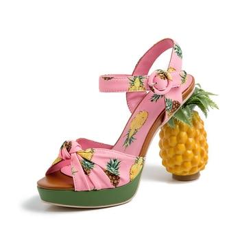 Print Platform Sandals Women High Heels Pineapple Heel Summer Shoes for Women Comfortable Ladies Sandals Elegant Shoes Woman