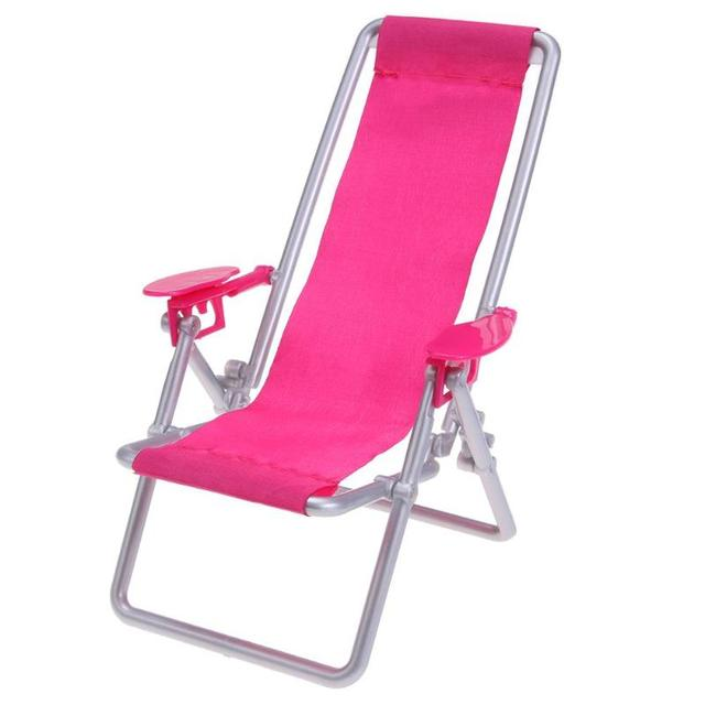 pink beach chair wood high chairs quality foldable deckchair lounge lovely 1 12 miniature furniture for barbie