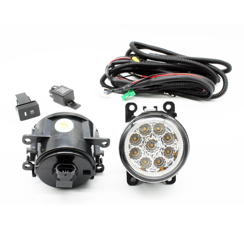 H11 Wiring Harness Sockets Wire Connector Switch + 2 Fog Lights DRL Front Bumper LED Lamp Yellow For DACIA LOGAN Saloon LS_ 04- for renault logan saloon ls h11 wiring harness sockets wire connector switch 2 fog lights drl front bumper 5d lens led lamp