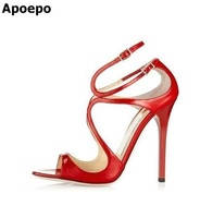 New Arrivals Women Sandals Fashion High Quality High Heel Ankle Open Toe Sexy Double Buckle Thin