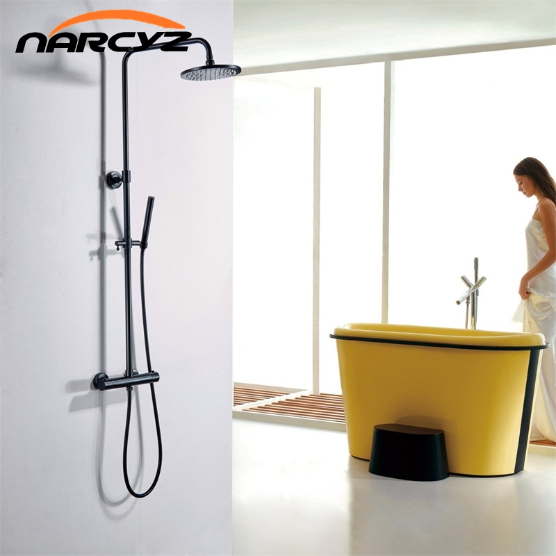 Luxury Thermostatic Bathroom Shower Set Black Hot and Cold Shower faucet Bathtub thermostatic shower mixer faucet