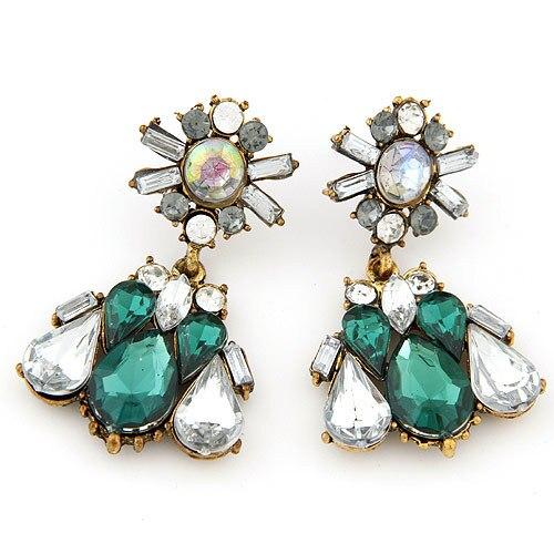 Retro Vintage Luxury Accessories Jewelry Emerald Green Geometric Pendant Bronze Baroque Water Drop Dangle Earrings For