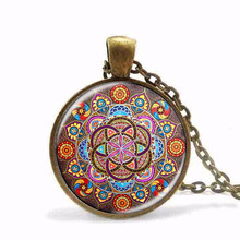 New Steampunk necklace mandala necklaces chakra pendant OM jewelry for women glass cabochon pendants Zen gifts jewellery HZ1
