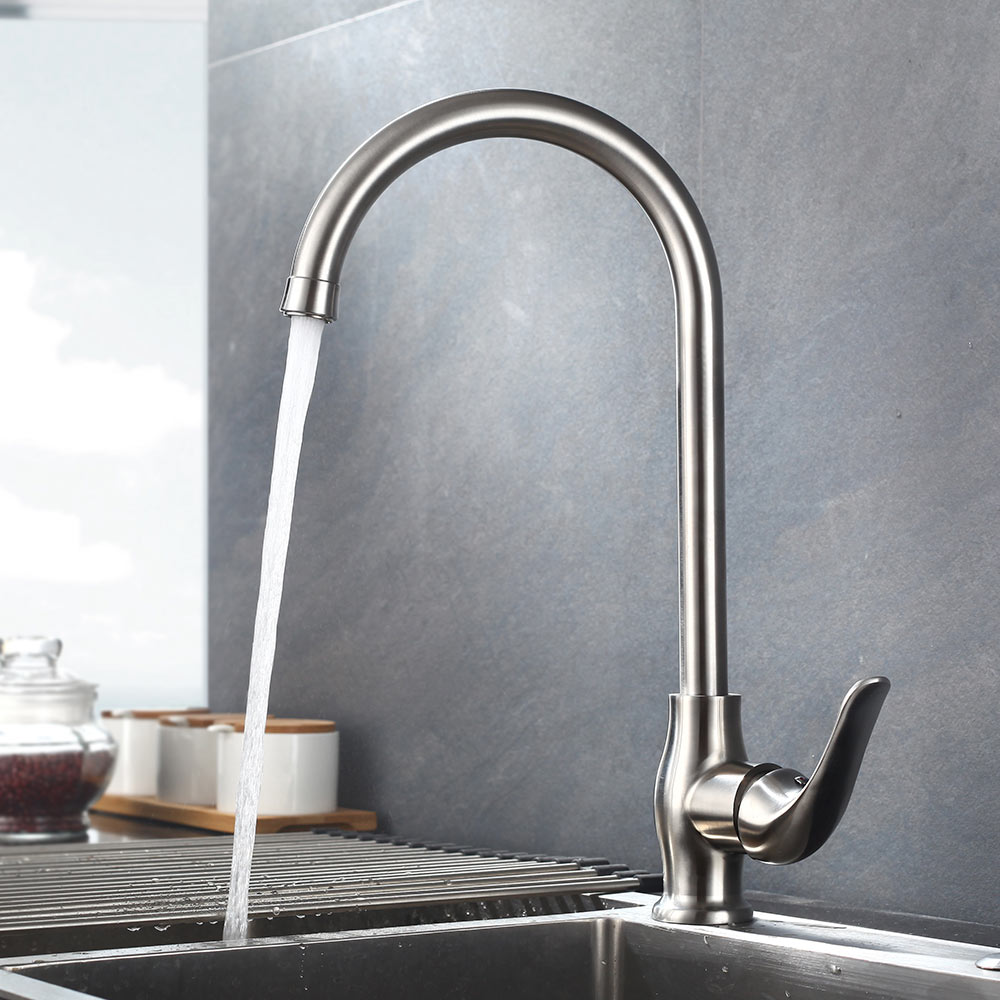 Brushed Nickle paints SUS 304 stainless steel Spool Mixer Water Faucet Kitchen Faucet Hot And Cold Double Control Faucets цена