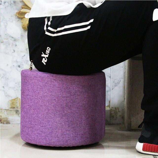 High quality comfortable creative fashion fabric small sofa stool  children shoes stool dressing table rainbow fabric stool