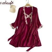 Fdfklak Spring Summer Lace Homewear Robe Faux Silk Night Gowns With Robe Lingerie Femme Sleepwear Dress Nightdress HomewearQ1184