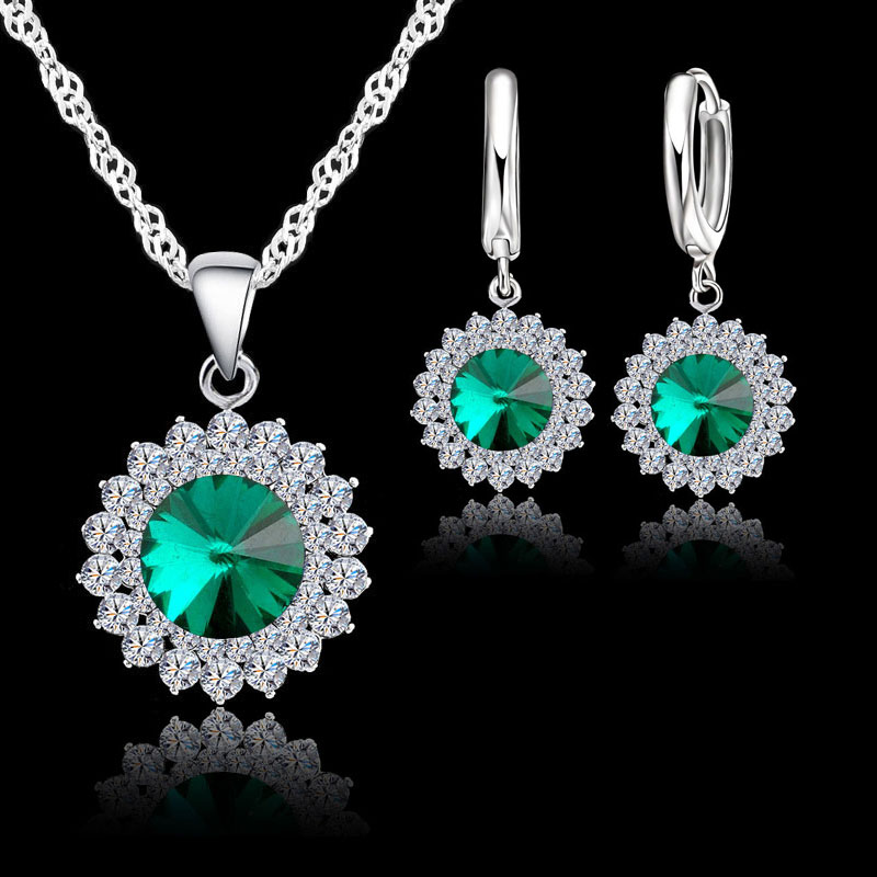 Exquisite 925 Sterling Silver Crystal Necklaces Earrings Set Women Fine Bridal Wedding Jewelry Sets Accessory 3Colors