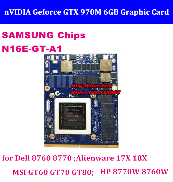 Frete Grátis N16E-GT-A1 NOVAS GTX 970M Placa Gráfica MXM GTX970M com X-Suporte Para Dell Alienware 17X 18X MSI GT60 HP 8770W