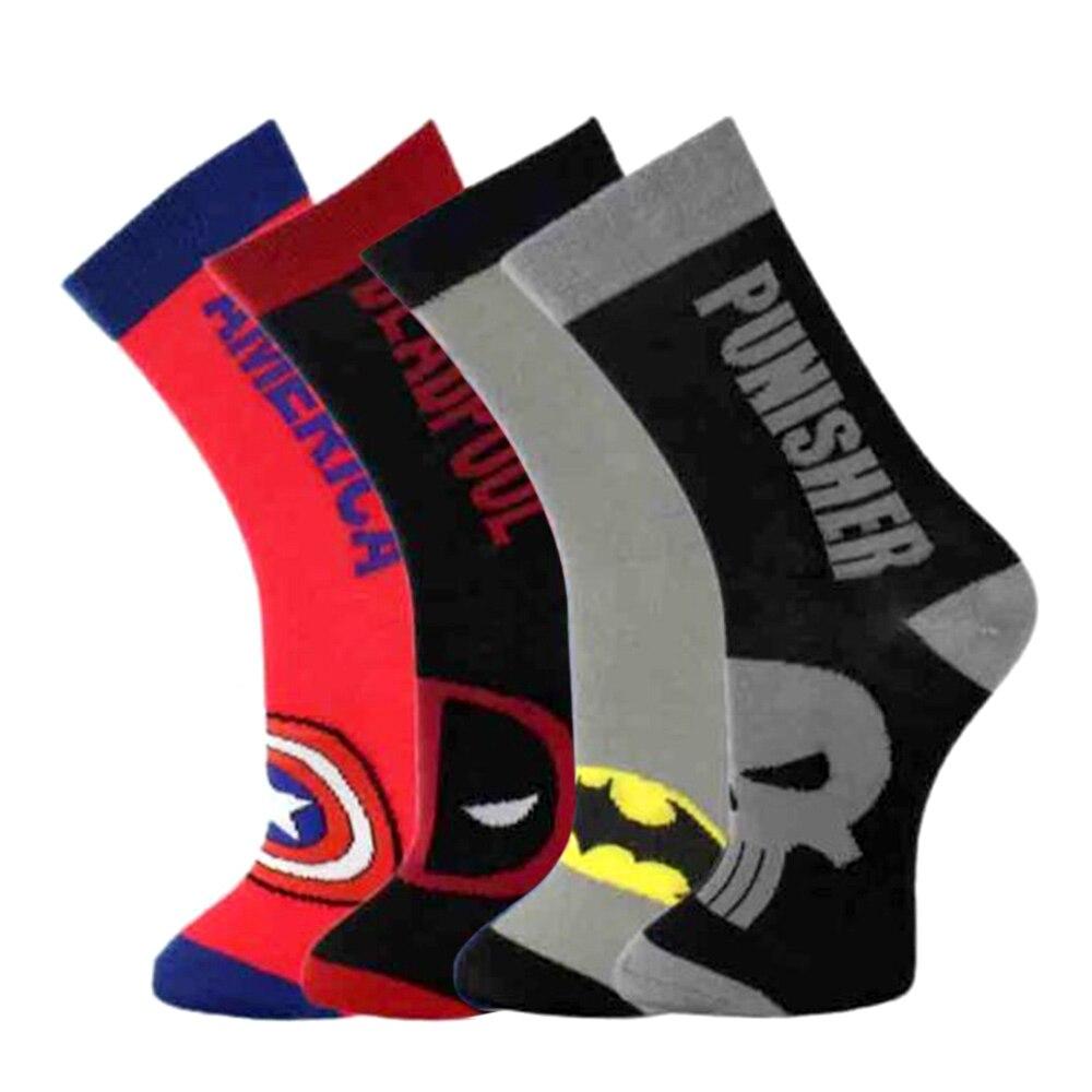 New Fashion Mens Cotton Socks  Super Hero Casual Dress Socks  High Quality