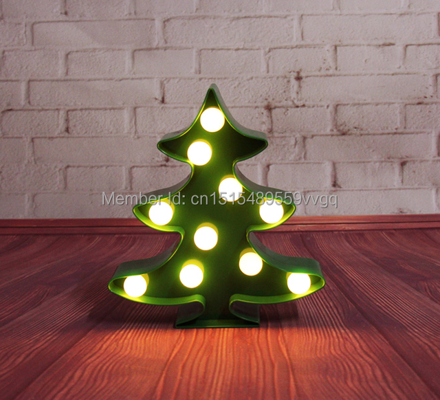 Novelty Light Up Mini Marquee Christmas Tree Sign Led Neon Indoor Dorm Lighting Free Shipping