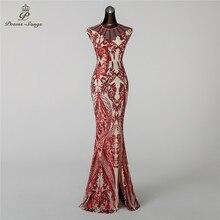 Poems Songs2019 Mermaid Evening Dress prom gowns Formal Party dress vestido  de festa Vintage Red Slit 76291c7e37b9