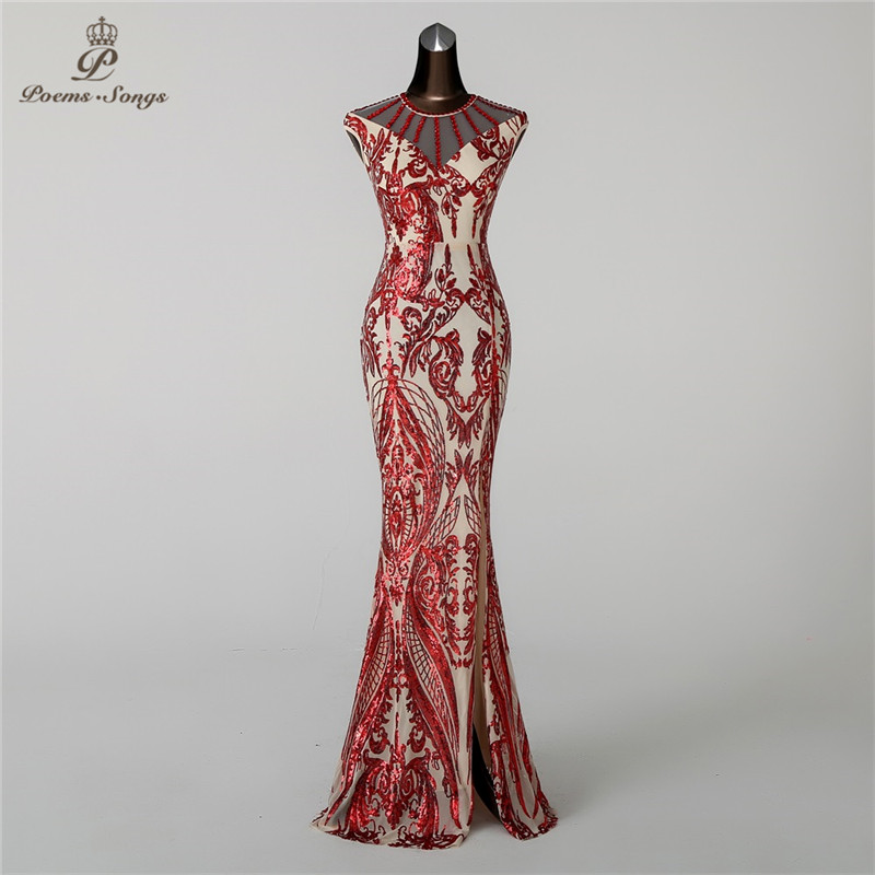 Poems Songs2019 Mermaid   Evening     Dress   prom gowns Formal Party   dress   vestido de festa Vintage Red Slit Luxury Sequin robe longue