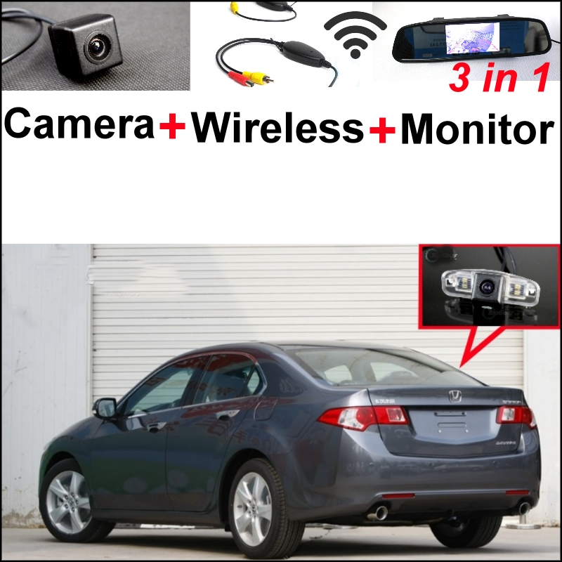 3 in1 Special Rear View Camera + Wireless Receiver + Mirror Monitor  Easy Parking System For Honda For Accord Spirior 2008-2012 wireless pager system 433 92mhz wireless restaurant table buzzer with monitor and watch receiver 3 display 42 call button