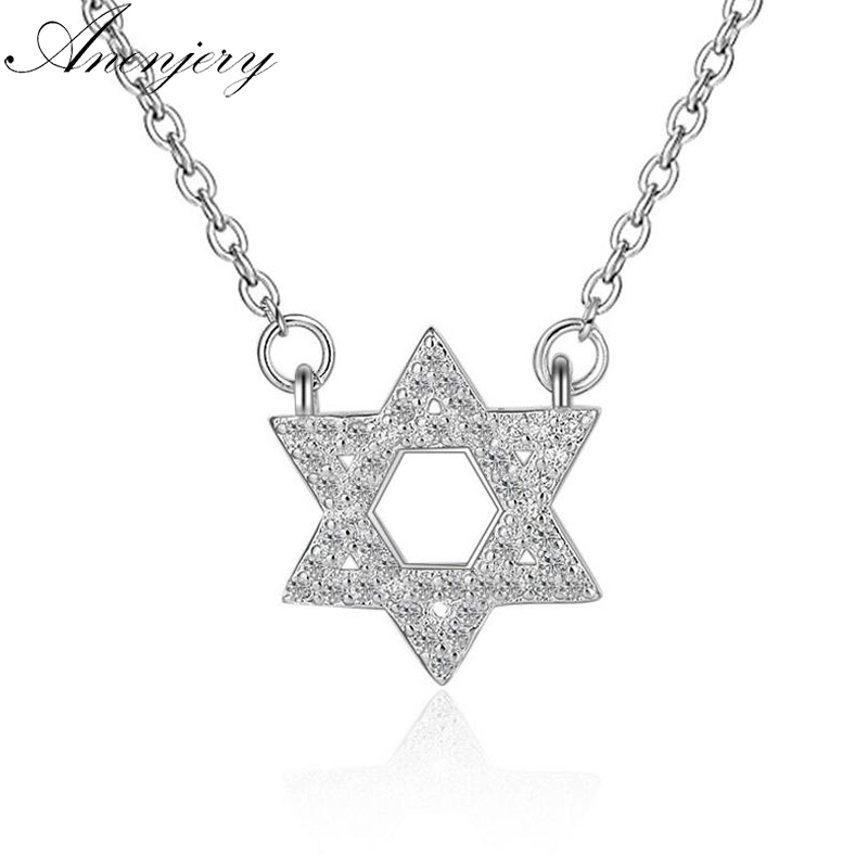 Anenjery 925 Sterling Silver Necklace Mosaic CZ Zirconia Star Pendant Necklace For Women Gift Chain choker Fine Jewelry S-N173