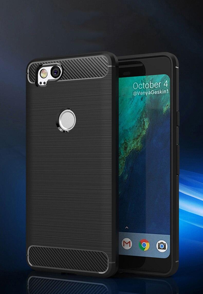 Case For Google Pixel 2 Case Carbon Fiber For Google Pixel2 Case Cover Silicone Brush Black Shell For HTC Pixel 2 5.0