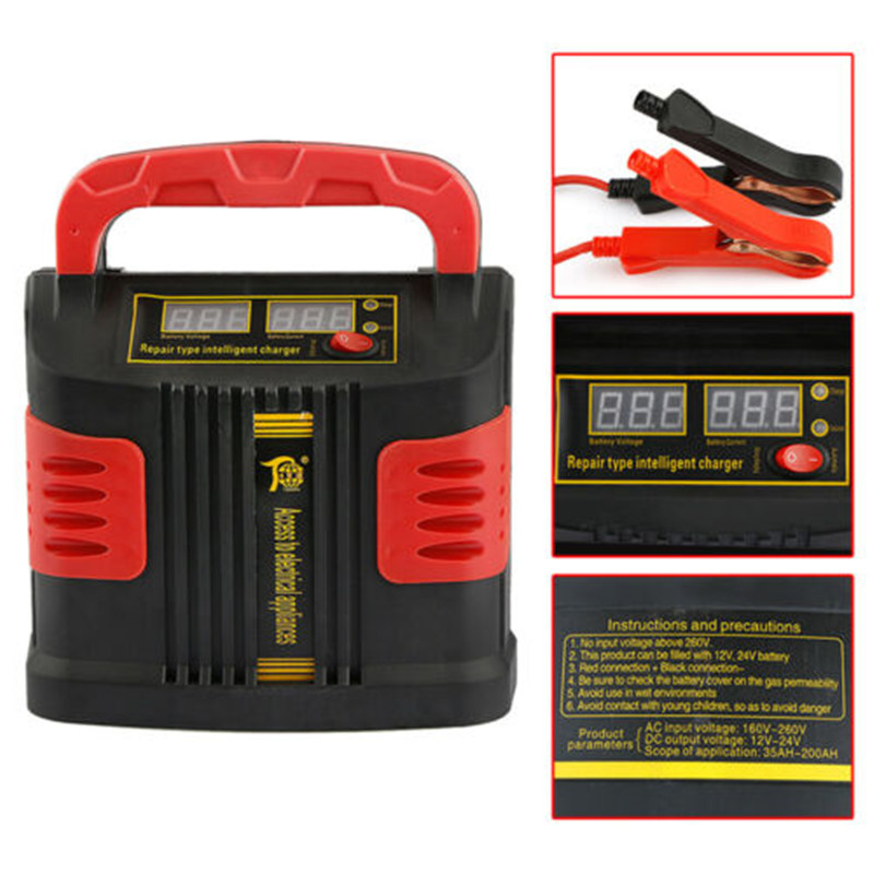 12V 10A Motorcycle Car Battery Charger Fully Intelligent Repair Full Automatic110V/ 220V With LCD Display For Wet Dry Lead Acid