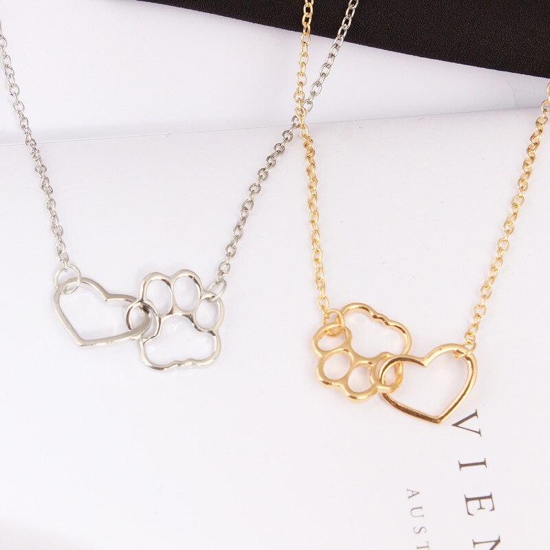 חלול לחיות מחמד Paw טביעת רגל שרשראות חמוד בעלי החיים כלב חתול אהבת לב תליון שרשרת עבור נשים בנות תכשיטי שרשרת