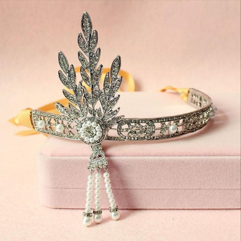 Ingyenes házhozszállítás 1db / tétel 6.4 '' Gatsby Headpiece Esküvői menyasszonyi nagy Gatsby Vintage Crown Pearls Hairwear Ékszer WUKUP001