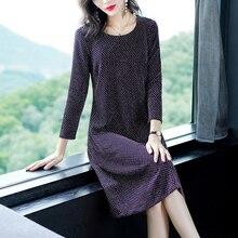 Purple midi dress women plus size big winter autumn elegant vintage party dresses long sleeve loose casual print clothing runway