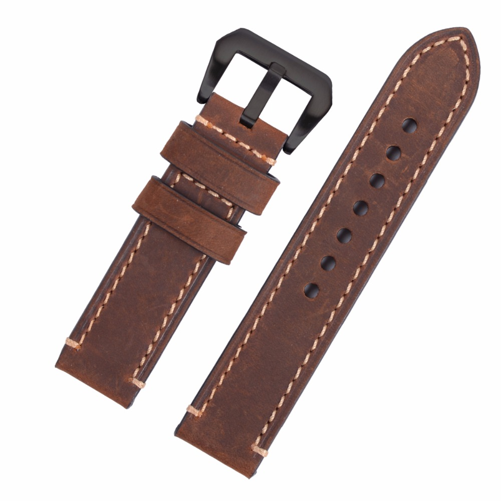 Hand Made Genuine Leather Watch Band Strap for P Watch 20mm 22mm 24mm 26mm With Black
