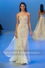 2016 Elie Saab Design Abendkleid Trägerlosen Luxus Perlen Sexy Kleider Cocktail Party Heißer Verkauf Robe De Soiree MY1020-03