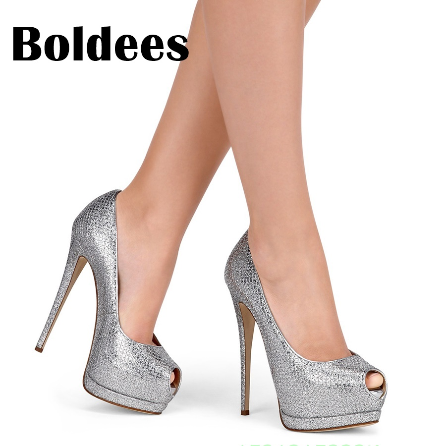 Boldee Sweet Bling Bling High Heel Shoes Woman Fashion Peep Toe Wedding Party Pumps Ladies Sexy Thin Heels Platform Pumps cdts 35 45 46 summer zapatos mujer peep toe sandals 15cm thin high heels flowers crystal platform sexy woman shoes wedding pumps