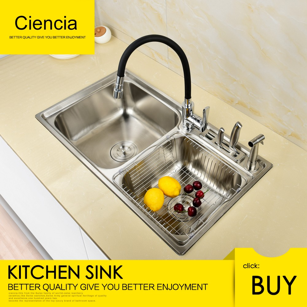 Free Shipping Stainless Ciencia Steel Brushed Nickel Undermount Double bowl Kitchen Sink With Fauct and Knife holder For Kitchen