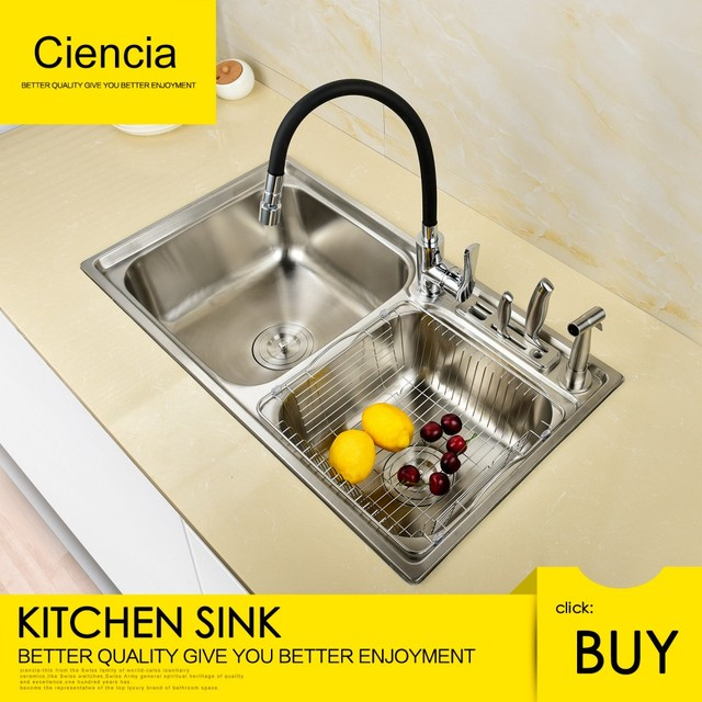 free shipping stainless ciencia steel brushed nickel undermount rh aliexpress com undermount double bowl kitchen sink for 30 inch cabinet fireclay undermount double bowl kitchen sinks