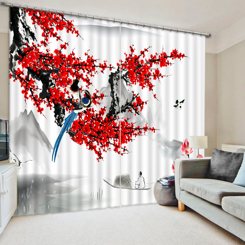 New Cafe Office 3D Blackout Curtains Chinese ink Painting Plum Pattern Fabric Washable Bedroom Curtains for