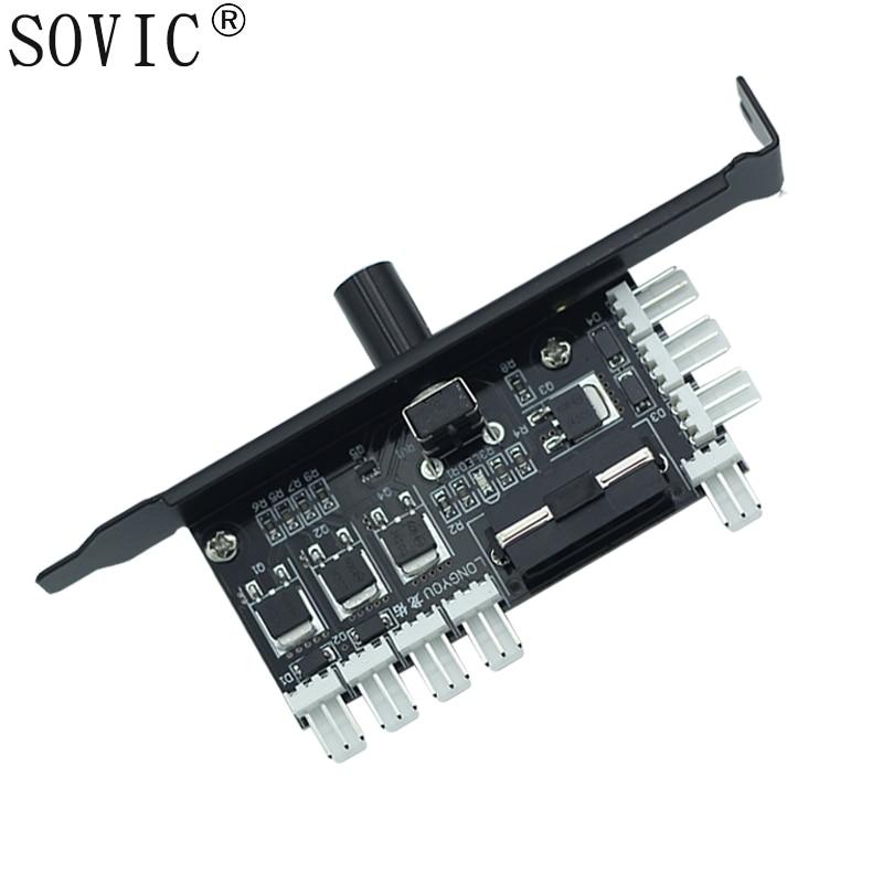 PC 8 Channels fan hub Cooling Fan Speed Controller for CPU Case HDD VGA PWM Fan w/ PCI Bracket Power by 12V 3pin/4pin Cooler fan