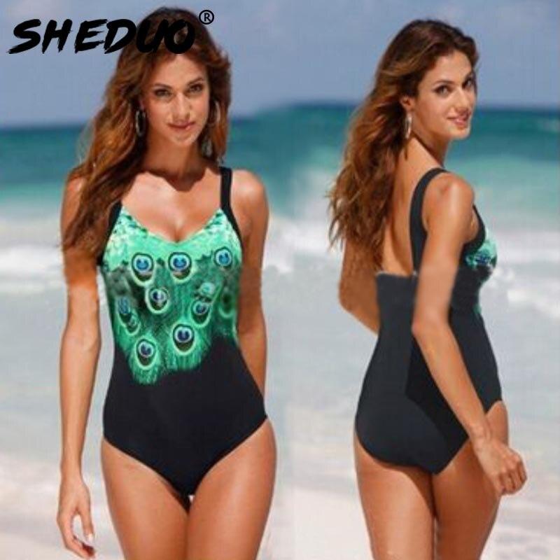 Plus size One Piece Woman Swimwear 2017 Lady Swimsuit Bathing Suit Peacock Print Straps Beach Swimming Suit Swimsuit Monikini