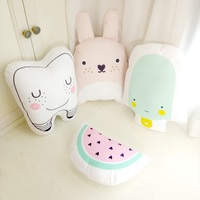 Lovely Cartoon Totoro Tooth Watermelon Cushion Pillow Bed Decoration Calm Sleep Dolls Plush Toys Gifts For