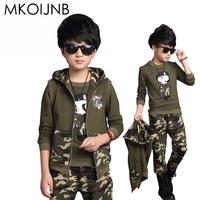 2016 Autumn Boys Camouflage Clothing Set 3pcs For Children Cotton Green Big Kids Hooded Jacket T