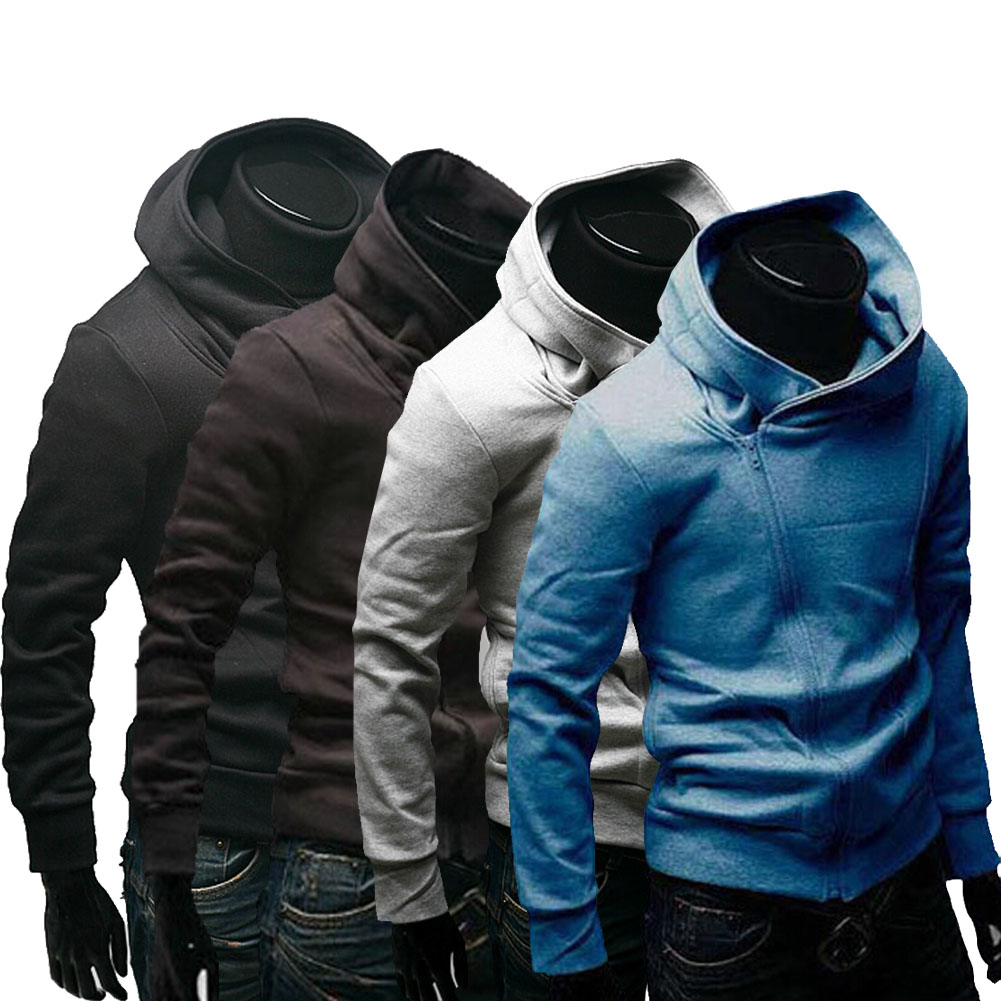 Inclined Zipper Hooded Hoodie Fleece Jacket Coat Casual Fashion Men's Clothing FS99