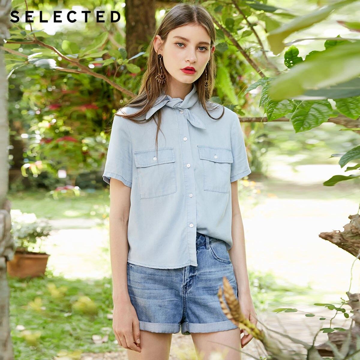 SELECTED women s tie up tencel loose casual denim short sleeved shirt C 418259501