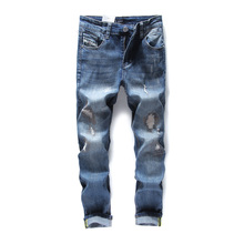2017 Top Quality Hot Sale Fashion Dsel Brand Men Jeans Straight Fit Italian Designer Distressed Ripped Jeans For Men,701-3