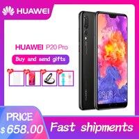 Оригинальный HuaWei P20 Pro 4G LTE мобильный телефон Kirin 970 Android 8,1 6,1 дюйма, разрешение Full Экран 2440x1080 6 ГБ Оперативная память 256 ГБ Встроенная память NFC