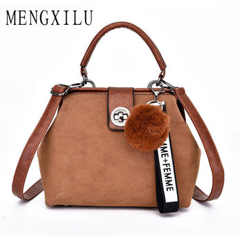 MENGXILU Retro Handbag Tote Purse Vintage Shoulder Bag Full Ball Women Cross Body Bags Doctor Bag Letter Scrub Leather Handbag Сумка