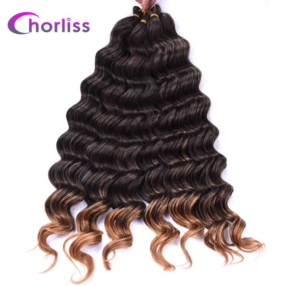 Chorliss 22 Dark Blonde Synthetic Ombre Braiding Hair Extensions Water Wave Crochet Braids Hair Bundles 80g