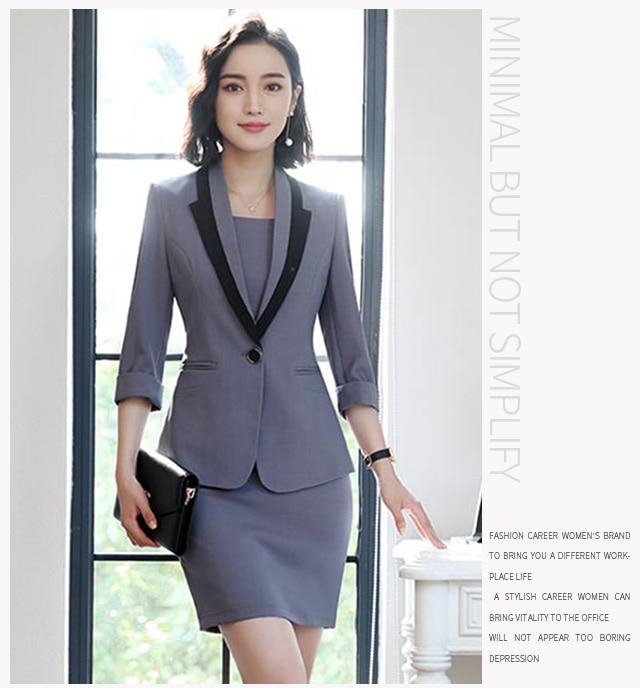 Hot Ladies Dress Suit for Work Full Sleeve Blazer Sleeveless Dress 2 Pieces Set 25