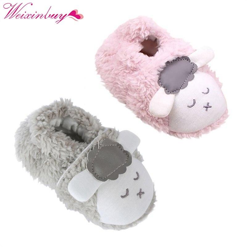 Милая обувь для девочек Детские Зимние теплый плюш пинетки детские мягкие тапочки кроватки Обувь для малышей