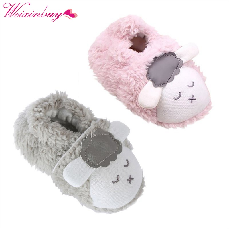Cute Baby Girls Shoes Kids Children Winter Warm Plush Booties Infant Soft Slipper Crib First Walkers
