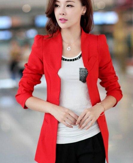 4f9f0b21ca5bf Nouveau Femmes Blazers Dames Minces Solides Blazer Seul Bouton Femmes  Costumes Cinq Couleurs Rouge Noir Blazers dans Blazers de Mode Femme et  Accessoires ...