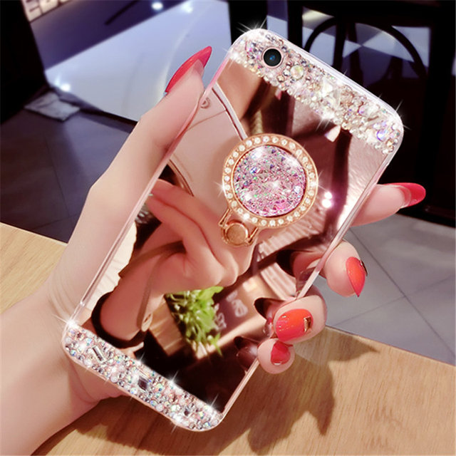 best service 28a05 9fe86 US $4.89 30% OFF|vivo Y81 Phone Case For vivo Y81 Diamond Mirror Soft  Crystal Finger Ring Rhinestone Phone Case For vivo Y81 Y81 Y 81 Back  Cover-in ...