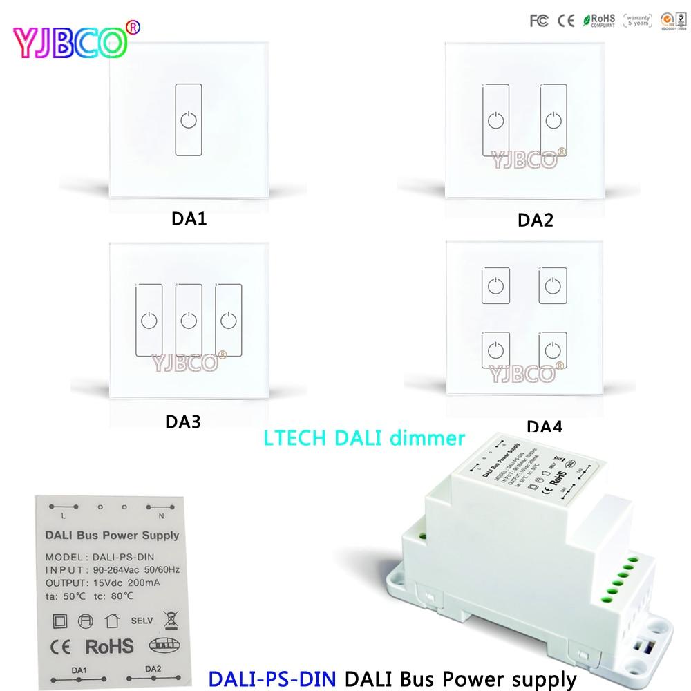 LTECH DALI-PS-DIN DALI Bus Power supply Dimming Driver;DA1 DA2 DA3 DA4 DALI Touch Panel Switch Dimmer for LED Lamps dali 16 2 5в