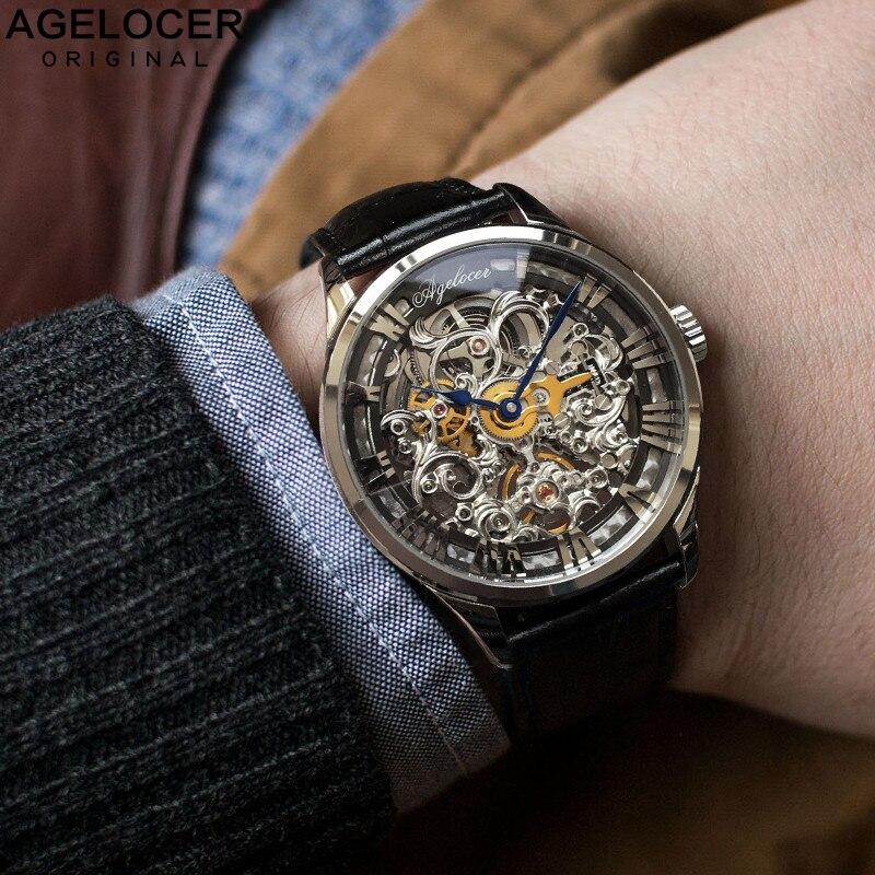 Reloj de marca suizo AGELOCER para hombre relojes de diseño mecánico reloj de lujo de marca superior para hombre reloj automático esqueleto reserva de energía 80H