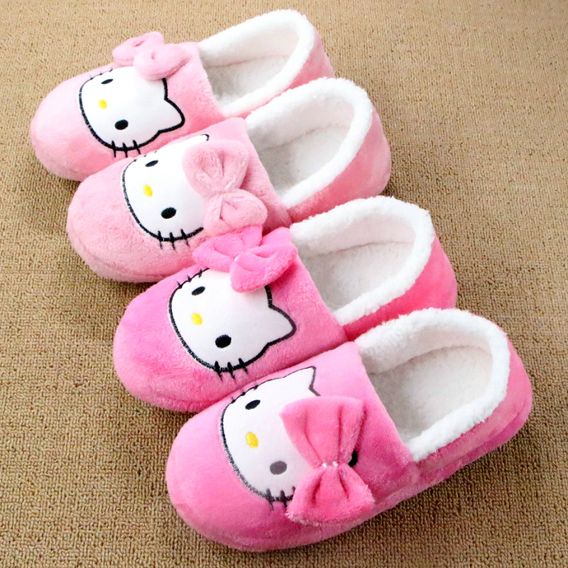 Winter Home Shoe Women Indoor Slipper Confinement Cartoon Hello Kitty House Plush Slippers Mujer Shoe Pantufas Pantoufle Femme