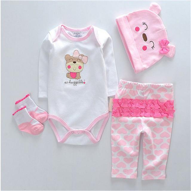 Recién nacido del mameluco de las muchachas fijados historieta del algodón puro mono subida de la ropa linda 4 unids ( hat + Romper + pants + calcetines ) del regalo del bebé
